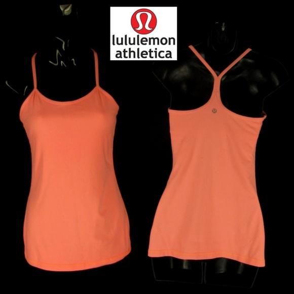 852e7b64a31a3 lululemon athletica Tops - Lululemon 6 Athletic Knit Top Peach Orange Cami